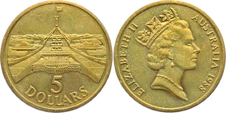 5 долларов с изображением здания Австралийского Парламента ее Величеством Елизаветой II