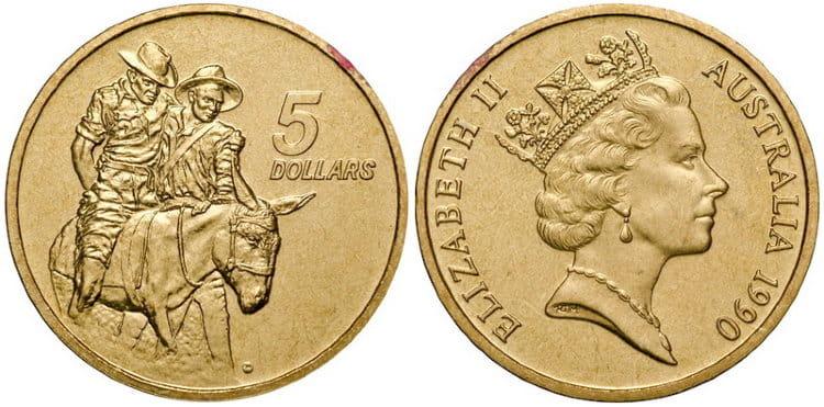 5 долларов с изображением Джона Симпсона поддерживающего солдата на ослике