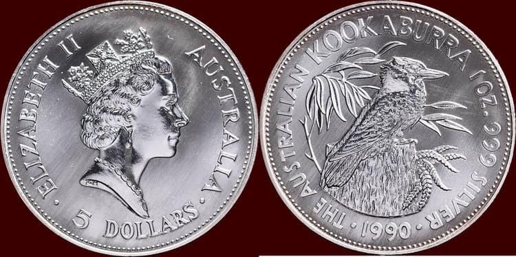 5 $ из серебра с изображением кукабарра