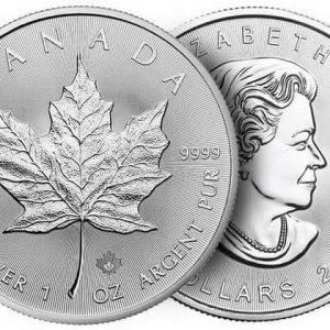 серебряная монета кленовый лист