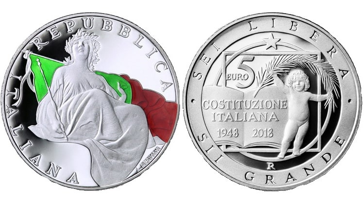 Italian gold and silver coins of euro