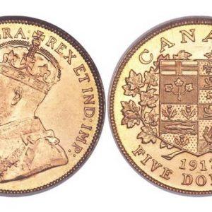 5 золотых канадских долларов 1912