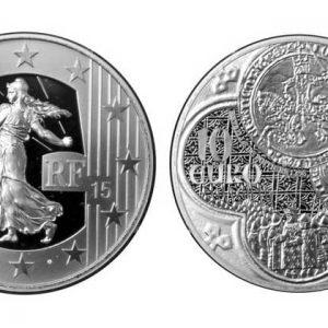 памятные серебрянные монеты Франции