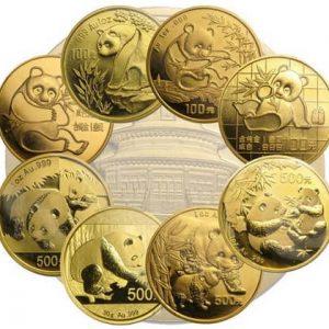 китайские золотые монеты панда