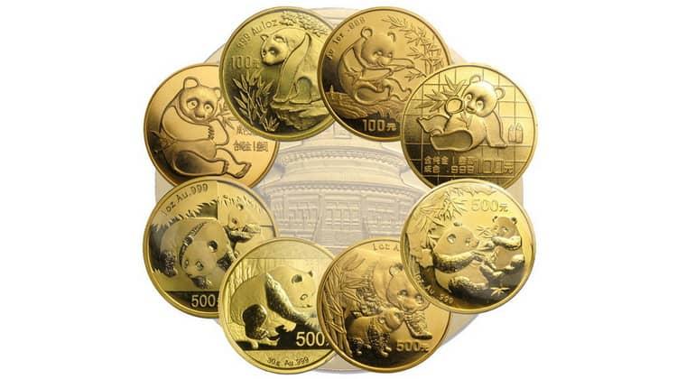 Китайские монеты серии Золотая панда