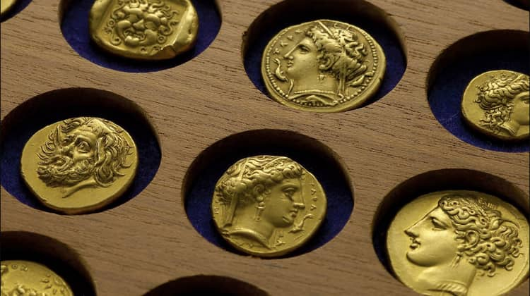 Antique gold and silver coins of Ancient Greece