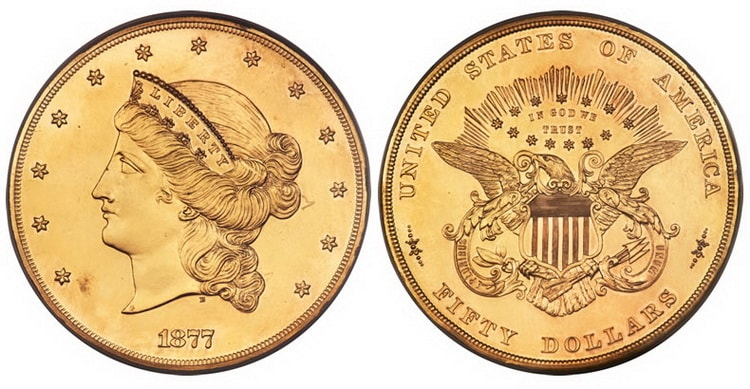"50 US dollar gold coin ""Liberty"" of 1877-1907"