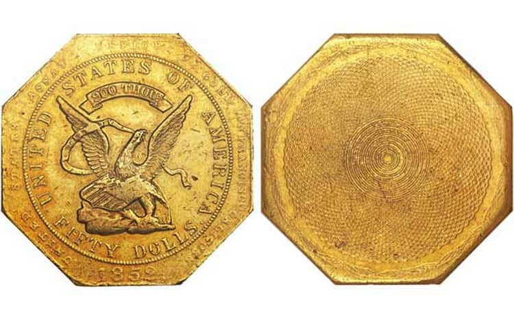 50 US gold dollar coin of 1851-1852