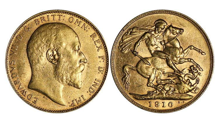 Gold sovereigns (Victoria (ann. 1887-1892), Victoria (1893-1901), Edward VII (1902-1910), George V (1911-1925))