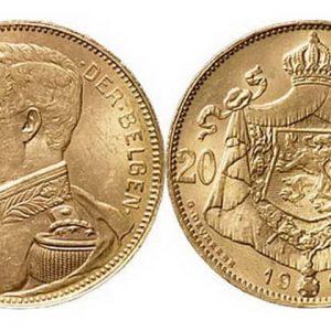 20 Belgian francs (1867-1914) coins
