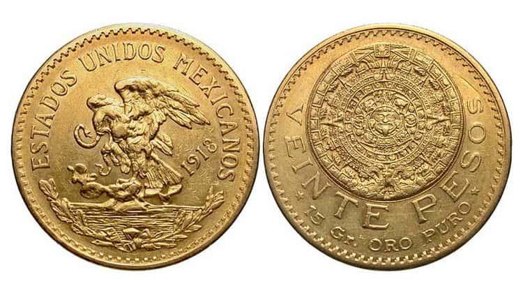 5, 10, 20 Mexican pesos