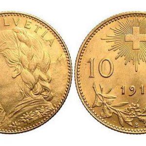 Монеты 10 швейцарских франков (1911-1922)