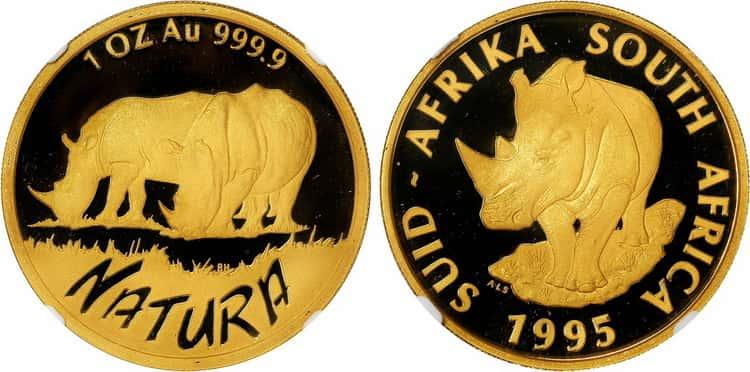 Монета «Носорог», чеканка 1995 г.