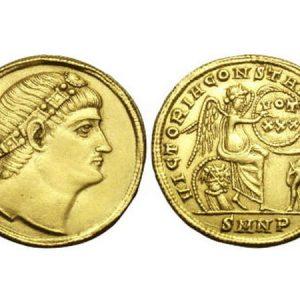 Монета солид Римской империи