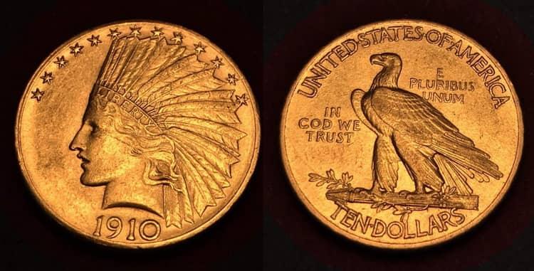 золотая монета голова индейца