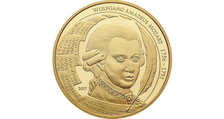 Тираж золотой монеты моцарт 1 унц 2017