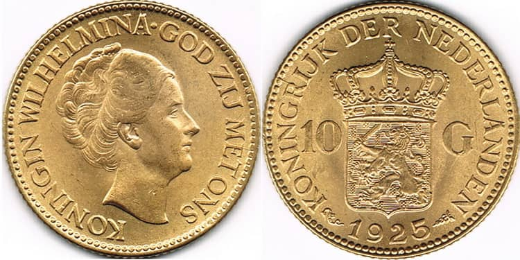10 Gulden Gold Kingdom of the Netherlands 1925
