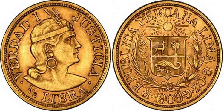 Characteristics of gold Peruvian 1/2 libra
