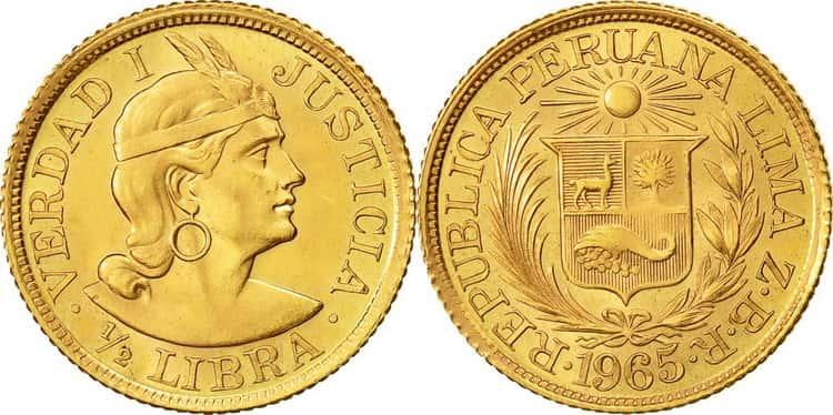 Gold 1/2 Peruvian libra 1965