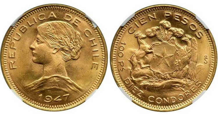 Gold coins of Chile 1926-1980
