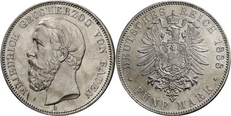 Особенности серебряной монеты Германии в 5 марок 1888 года