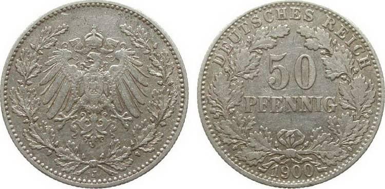 серебряная монета германии 1900 года в 50 пенни
