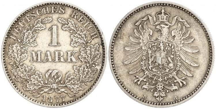 серебряная монета германии в 1 марк 1877 года