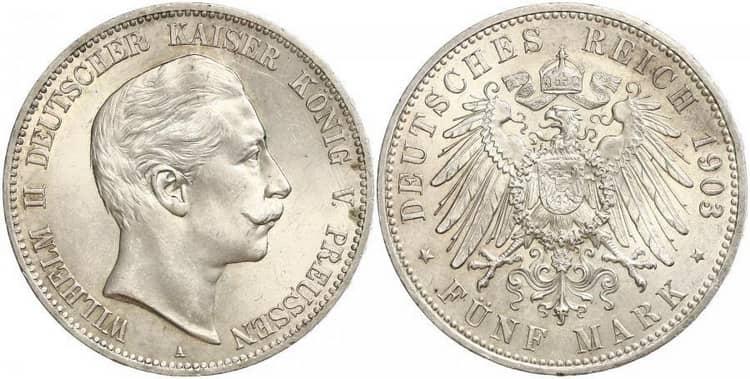 Серебряная монета германии 1903 года