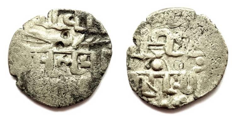 Старинная серебряная монета Индии
