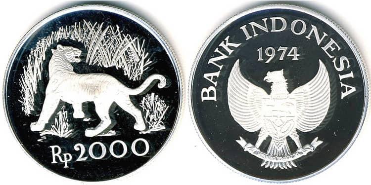 Особенности серебряной монеты Индонезии 2 000 рупий 1974 года