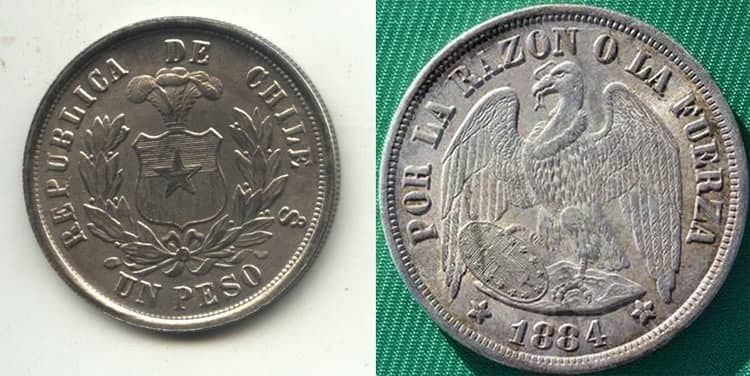Silver coins of Chile 1862-1872