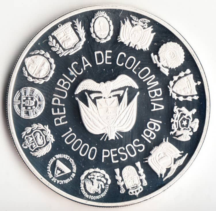 Silver coins of Chile 1991