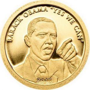Золотая монета Обама