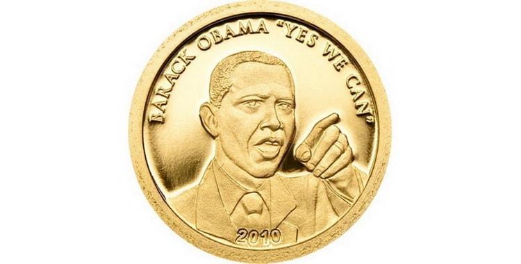 Золотая монета Барака Обамы