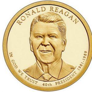 Золотая монета Рональда Рейгана