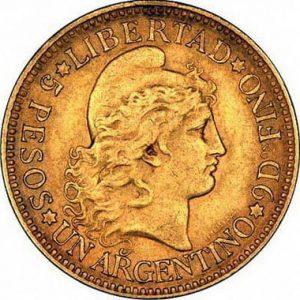 Золотые монеты Аргентины
