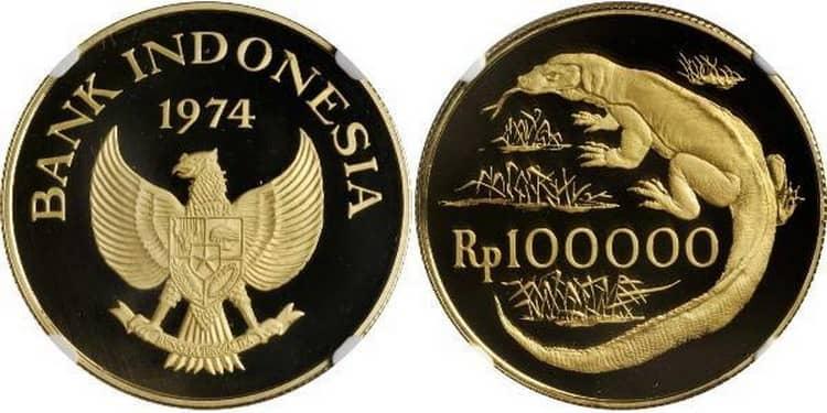Особенности золотой монеты Индонезии 100 000 рупий