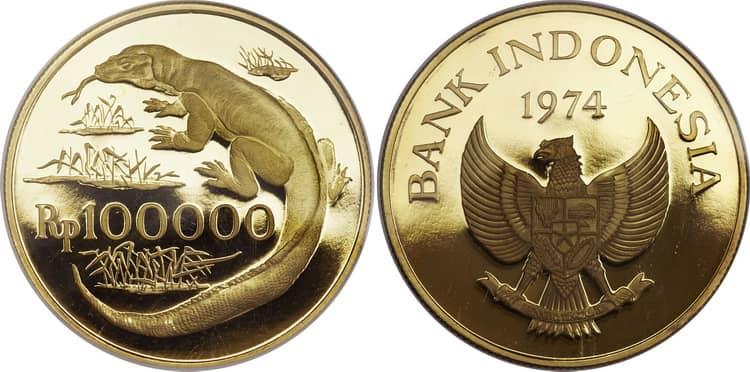 Индонезийская золотая монета 1974 года