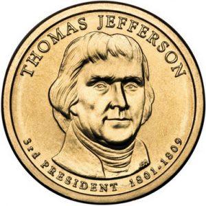 Золотая монета Томаса Джефферсона