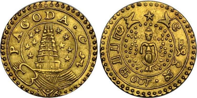 Мухр золотая монета Индии