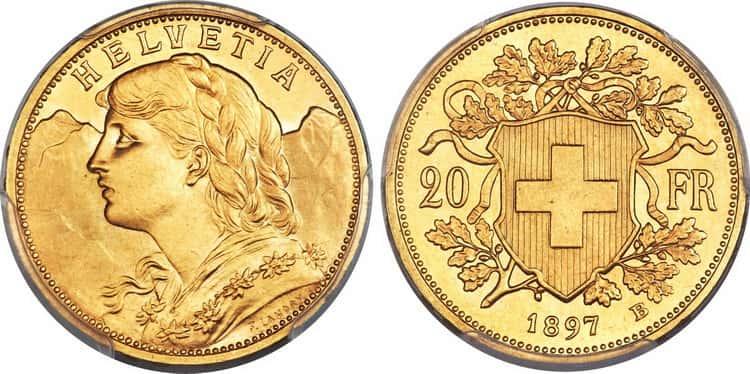 20 Swiss francs (1897-1949) design