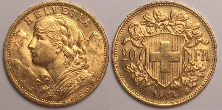 20 Swiss francs Helvetia