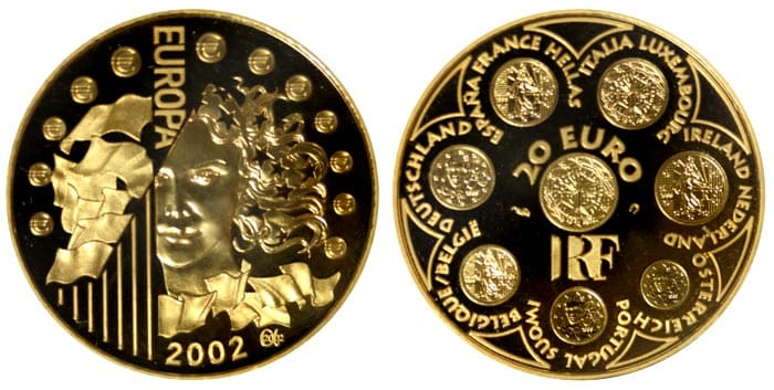 French gold coins 2002