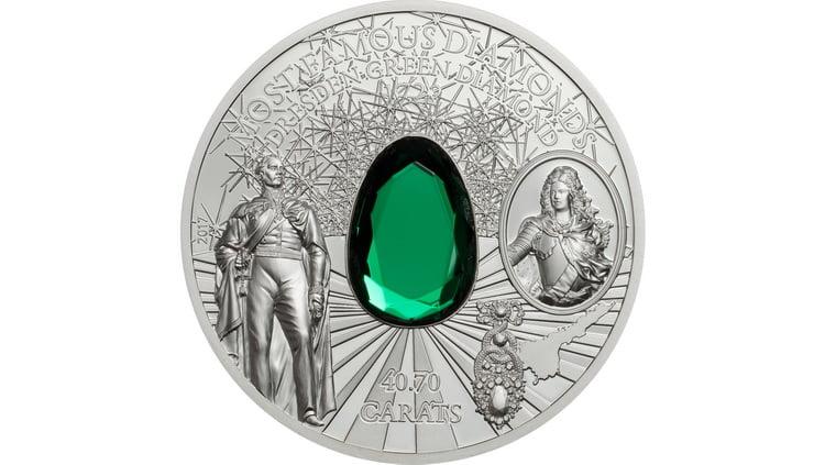 Серебряная монета Островов Кука с драгоценным камнем