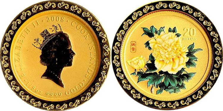 Характеристики золотой монеты Островов Кука «Пионы»
