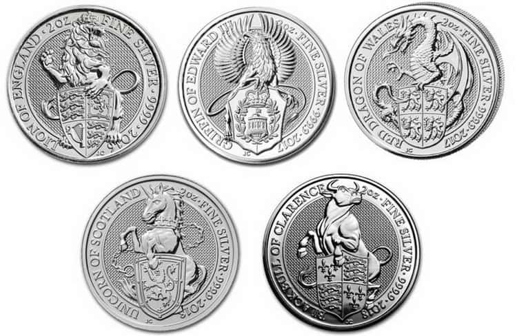 Queen's Beasts 5 pounds Silver Coin