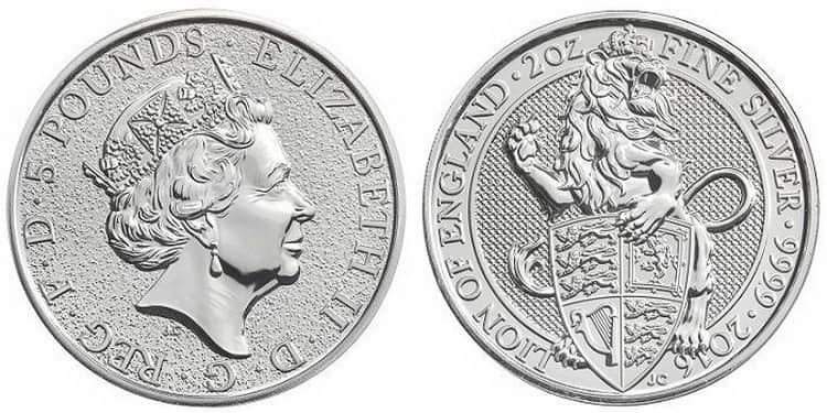 Queen's Beasts Lion of England Silver Coin