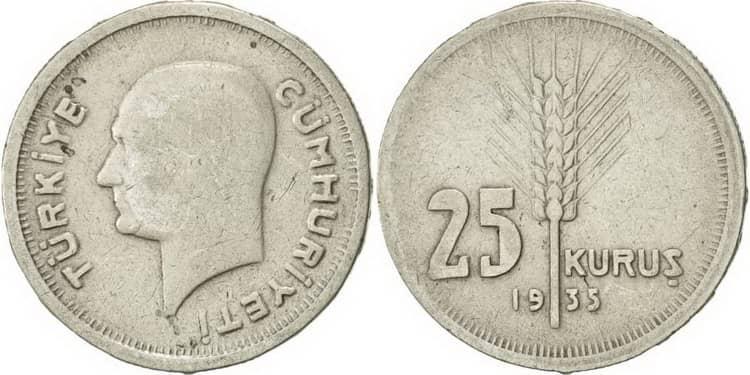 Серебряной монета Турции 1933 года
