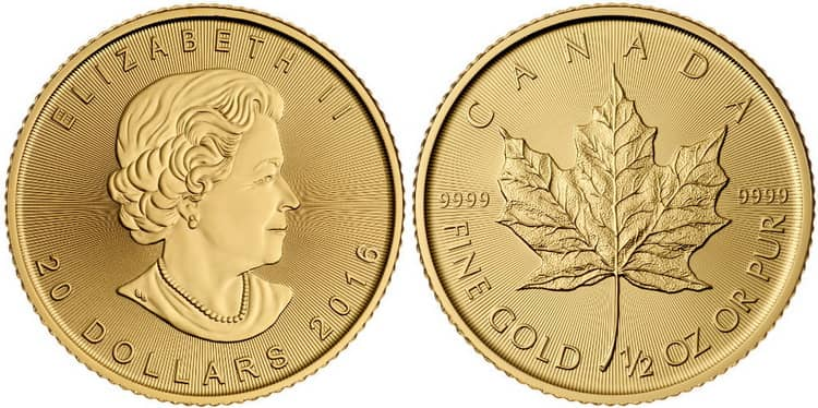 Канадская золотая монета в 20 долларов