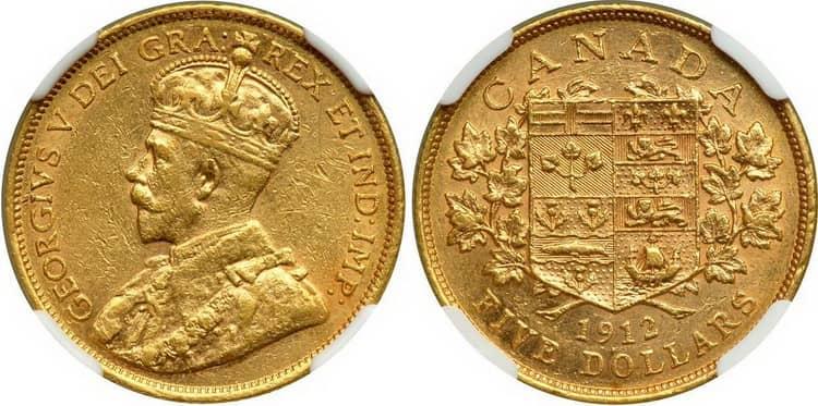 Золотая монета Канады 1912 года